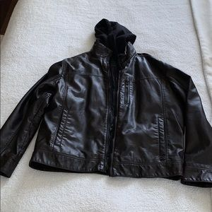 Men's Calvin Klein Faux Leather Jacket with hood